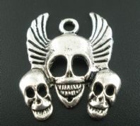 1 3 Smiling Skulls with Wings Pendant